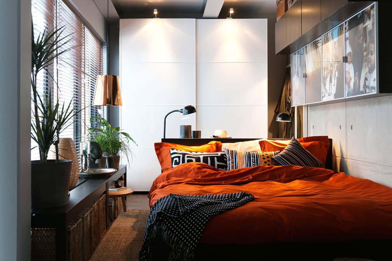 Интерьера спальни в стиле икеа